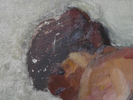 Detalle capa pictórica Desnudo femenino sin título