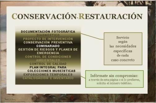 Servicios en Conservación - Restauración. Infórmate escribiendo a irenemerinomena@gmail.com